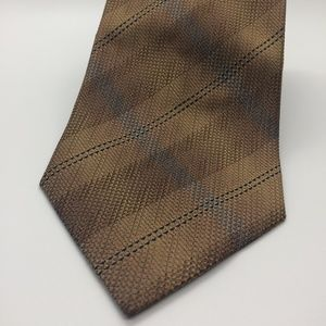 Tan and Gray Plaid Kenneth Cole Men's Necktie